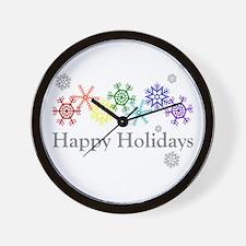Rainbow Snowflakes Wall Clock