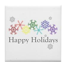 Rainbow Snowflakes Tile Coaster