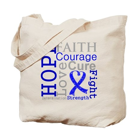 Colon Cancer Hope Courage Tote Bag