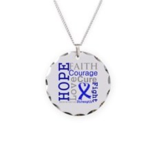 Colon Cancer Hope Courage Necklace Circle Charm
