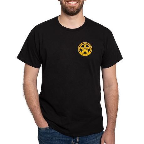 Gold Private Investigator Logo on Black T-Shirt