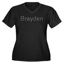 Brayden Paper Clips Women's Plus Size V-Neck Dark