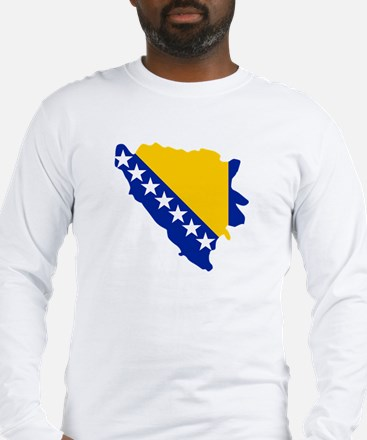 Bosnia and Herzegovina map flag Long Sleeve T-Shir