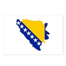 Bosnia and Herzegovina map flag Postcards (Package