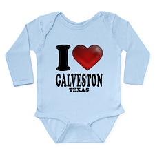 I Heart Galveston, Texas Long Sleeve Infant Bodysu