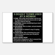 deadly terms used by a woman Decal