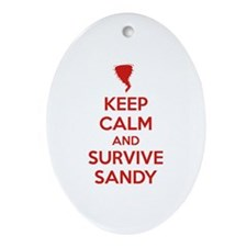 Keep Calm and Survive Sandy Ornament (Oval)
