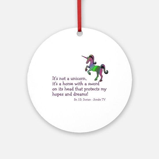 Scrubs Unicorn Quotes Ornament (Round)