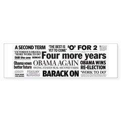 Obama Re-Elected Headline Bumper Sticker