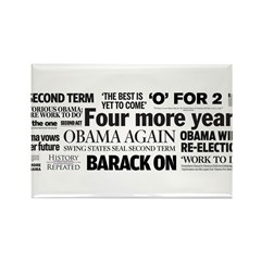 Obama Re-Elected Headline Rectangle Magnet