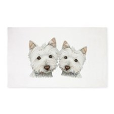 Two Cute West Highland White Dogs 3'x5' Area Rug