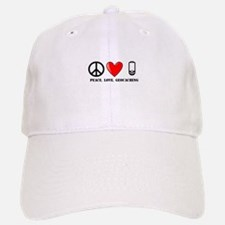 Peace, Love, Geocaching Baseball Baseball Cap