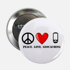 """Peace, Love, Geocaching 2.25"""" Button (100 pack)"""