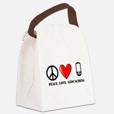 Peace, Love, Geocaching Canvas Lunch Bag