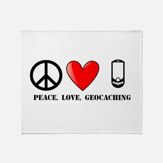 Peace, Love, Geocaching Throw Blanket