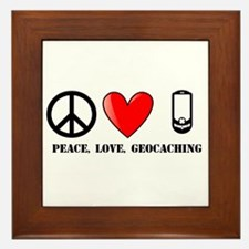 Peace, Love, Geocaching Framed Tile