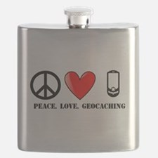 Peace, Love, Geocaching Flask