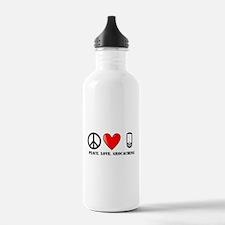 Peace, Love, Geocaching Water Bottle