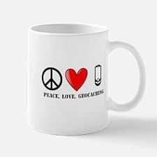 Peace, Love, Geocaching Small Mugs