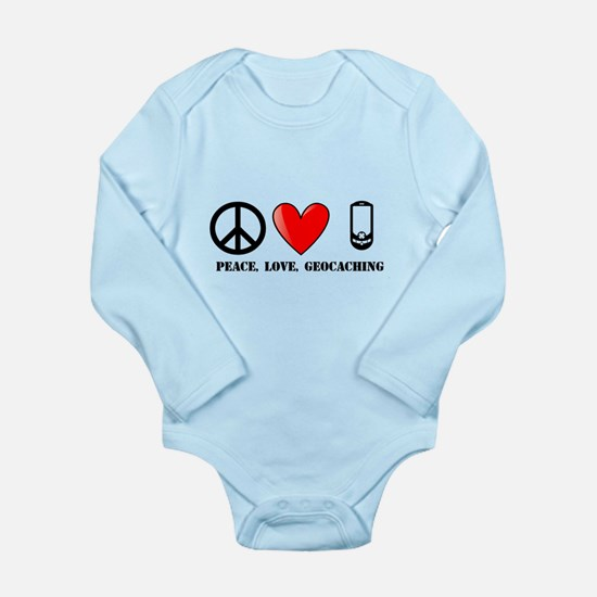 Peace, Love, Geocaching Long Sleeve Infant Bodysui