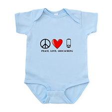 Peace, Love, Geocaching Infant Bodysuit