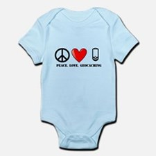 Peace, Love, Geocaching Infant Bodysuit