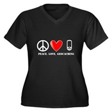 Peace, Love, Geocaching Women's Plus Size V-Neck D