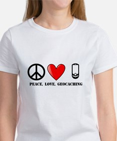 Peace, Love, Geocaching Women's T-Shirt