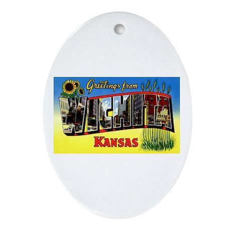 Wichita Kansas Greetings Oval Ornament