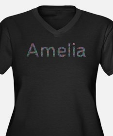 Amelia Paper Clips Women's Plus Size V-Neck Dark T