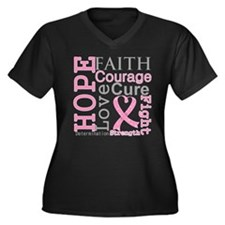 Breast Cancer Hope Courage Women's Plus Size V-Nec