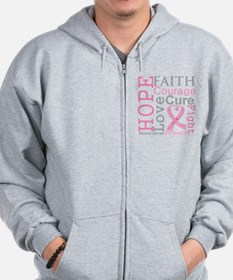 Breast Cancer Hope Courage Zip Hoodie