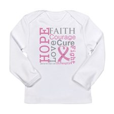 Breast Cancer Hope Courage Long Sleeve Infant T-Sh