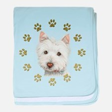 West Highland White and Paws Art baby blanket