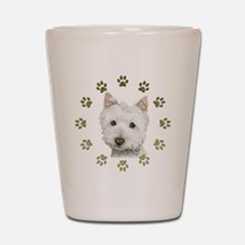 West Highland White and Paws Art Shot Glass