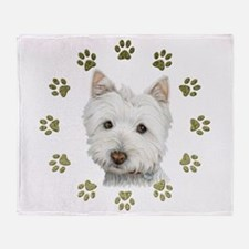 West Highland White and Paws Art Throw Blanket