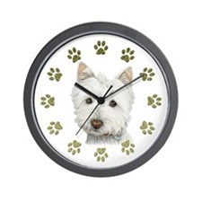West Highland White and Paws Art Wall Clock