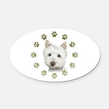 West Highland White and Paws Art Oval Car Magnet