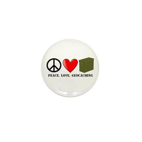 Peace, Love, Geocaching Mini Button (10 pack)