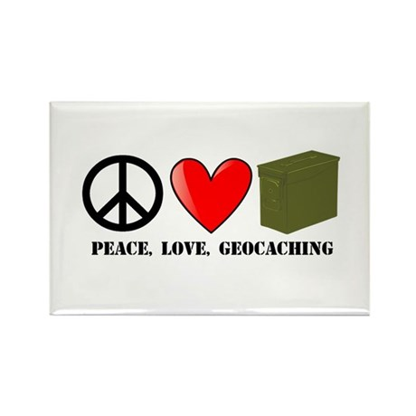Peace, Love, Geocaching Rectangle Magnet (100 pack