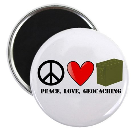 "Peace, Love, Geocaching 2.25"" Magnet (10 pack)"