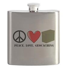 Peace, Love, Geocaching Flask