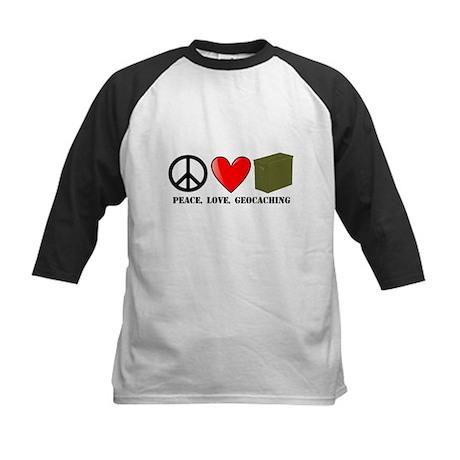 Peace, Love, Geocaching Kids Baseball Jersey