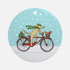 Dog and Squirrel Holiday Ornament (Round)