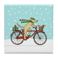 Dog and Squirrel Holiday Tile Coaster