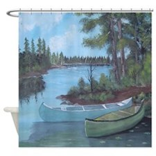 Canoe Painting Shower Curtain
