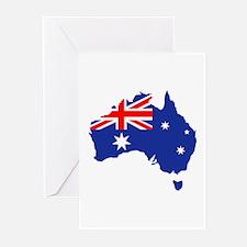 Australia map flag Greeting Cards (Pk of 20)