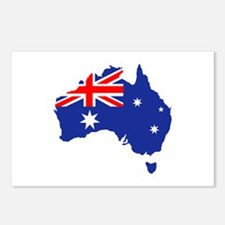 Australia map flag Postcards (Package of 8)