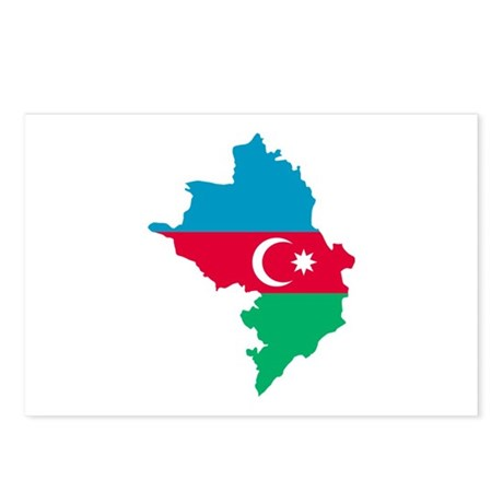 Azerbaijan map flag Postcards (Package of 8)