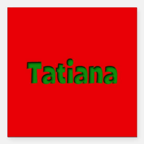 """Tatiana Red and Green Square Car Magnet 3"""" x 3"""""""